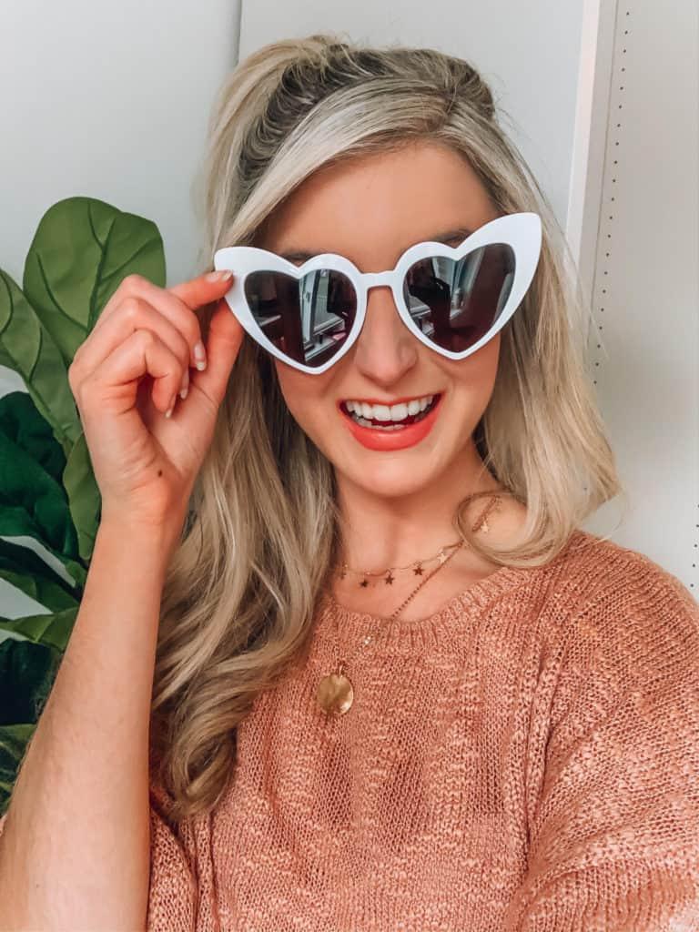 prada and pearls, fashion blogger, amazon, amazon things to buy, amazon must haves, amazon fashion, amazon style, amazon march haul, heart sunglasses, white heart sunglasses, selfie, spring style, amazon accessories