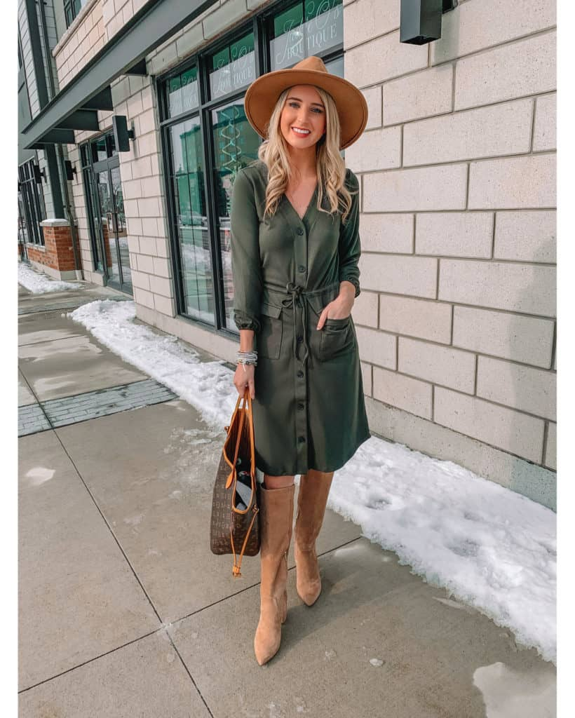 workwear, February favourites, women workwear, wear to work, February top sellers, olive dress, midi boots, mid knee boots