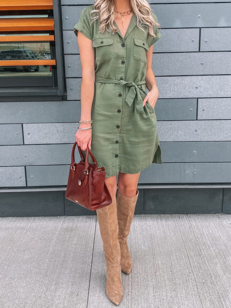 fall outfit, fall outfits, cute fall outfits, fall outfit 2020, casual fall outfits, green utility dress, utility dress outfit, midi boot outfit, trendy fall outfit, old navy outfits, fall fashion, fall fashion 2020, fall fashion trends, Prada & Pearls