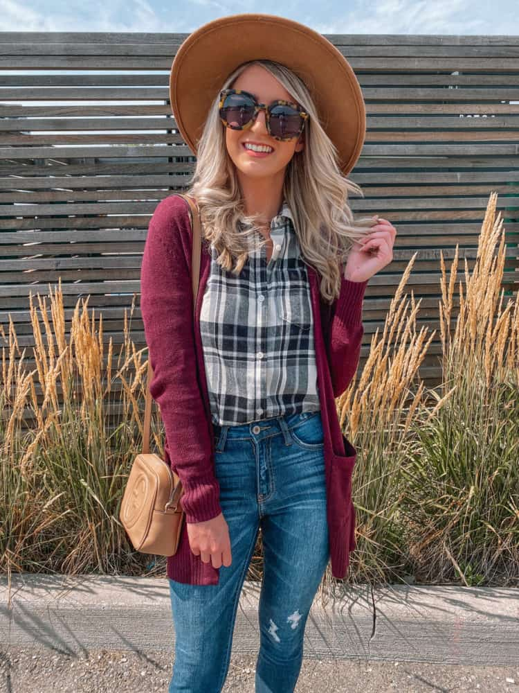 fall outfit, fall outfits, cute fall outfits, fall outfit 2020, casual fall outfits, plum cardigan, plaid shirt outfit, trendy fall outfit, old navy outfits, fall fashion, fall fashion 2020, fall fashion trends, Prada & Pearls