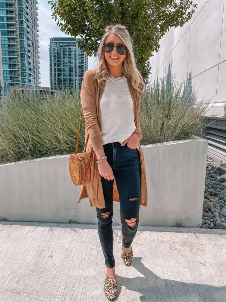 fall outfit, fall outfits, cute fall outfits, fall outfit 2020, leopard mule outfit, casual fall outfits, sweater tank outfit, casual cardigan outfit, trendy fall outfit, old navy outfits, fall fashion, fall fashion 2020, fall fashion trends, Prada & Pearls