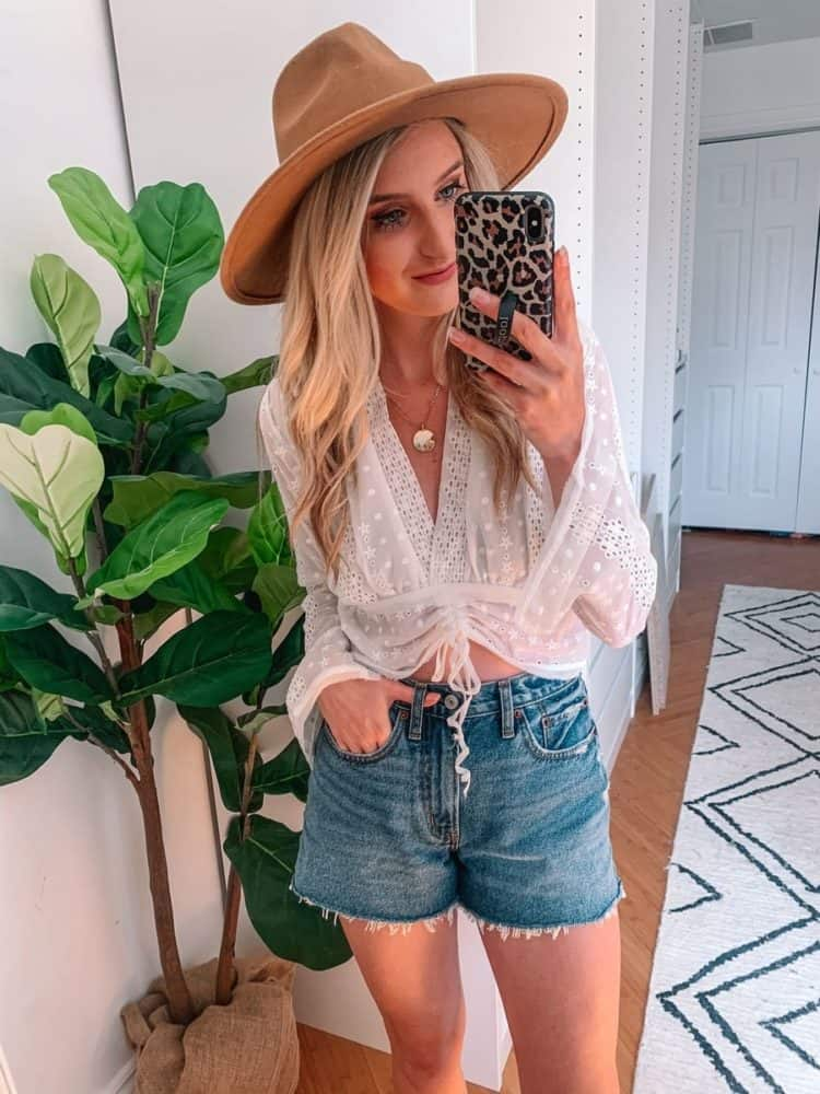 fall transition outfits, fall outfit, fall transition outfits casual, fall outfits women, casual fall outfits, casual outfits, outfit roundup, Prada and pearls, white blouse outfit, mirror selfie