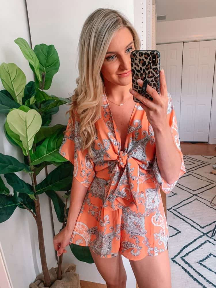 fall transition outfits, fall outfit, fall transition outfits casual, fall outfits women, casual fall outfits, casual outfits, outfit roundup, Prada and pearls, romper outfit, paisley romper