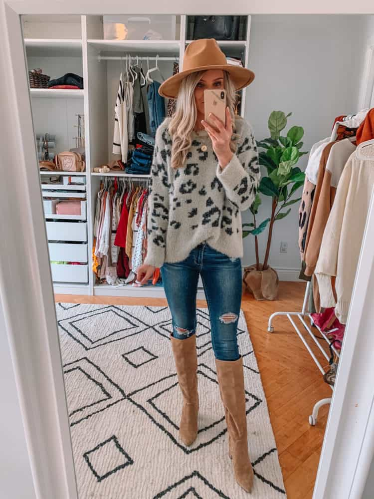 fall sweater finds, amazon must haves, amazon fall sweater haul, amazon must haves 2020, best amazon finds, amazon fashion, amazon fall fashion, best amazon sweaters, amazon sweater haul, amazon outfits, Prada and pearls, leopard sweater