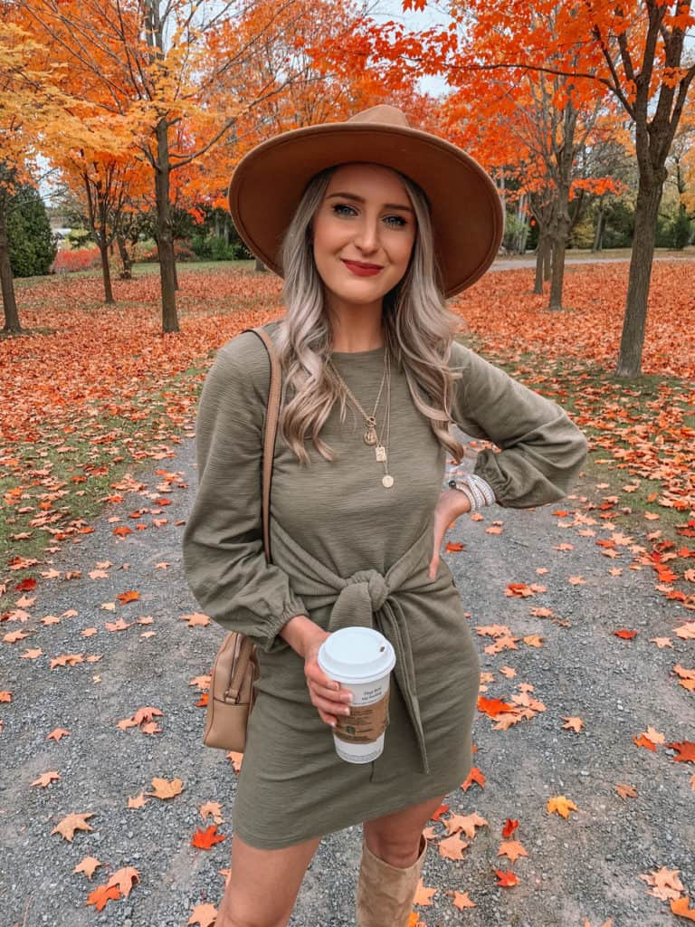amazon fall dress, amazon must haves, amazon finds, amazon must haves 2020, amazon fall finds, amazon dress finds, amazon fall must haves, olive fall dress, tie front dress, Prada and pearls