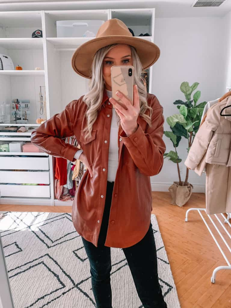 womens coats, womens coats 2020, womens coats casual, prada and pearls, vegan leather coat, abercrombie coat, womens coat winter, shirt jacket, shirt jacket outfit, fall style 2020, winter style 2020