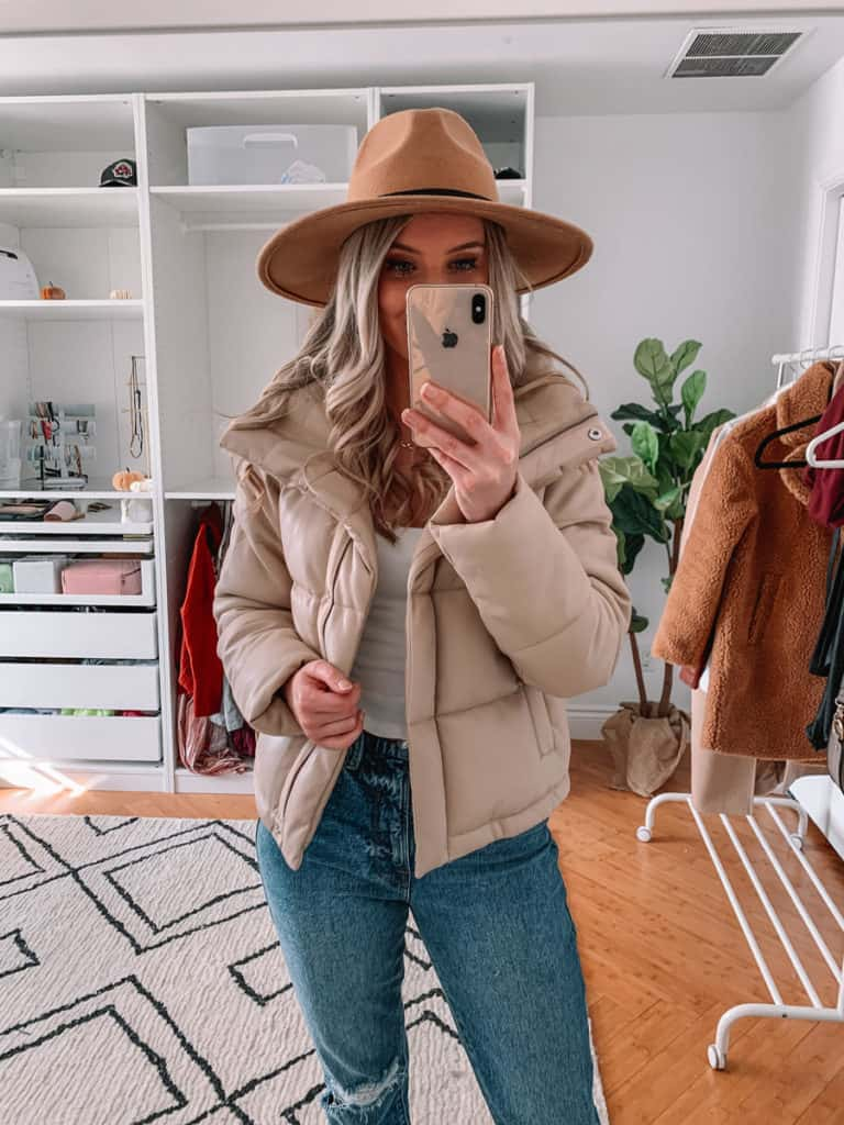 womens coats, womens coats 2020, womens coats casual, prada and pearls, vegan leather puffer coat, abercrombie coat, womens coat winter, puffer coat outfit, puffer coat outfit casual, snakeskin booties, fall style 2020, winter style 2020