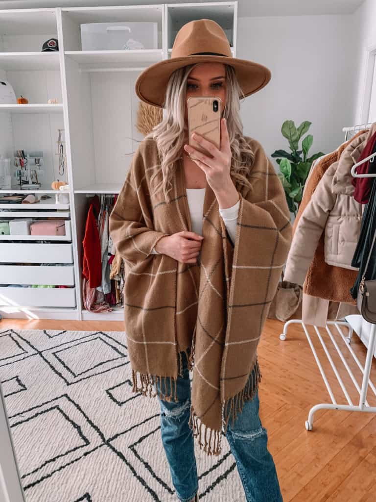 womens coats, womens coats 2020, womens coats casual, prada and pearls, vegan leather puffer coat, abercrombie coat, womens coat winter, fall poncho outfit, poncho outfit, plaid poncho, fall style 2020, winter style 2020
