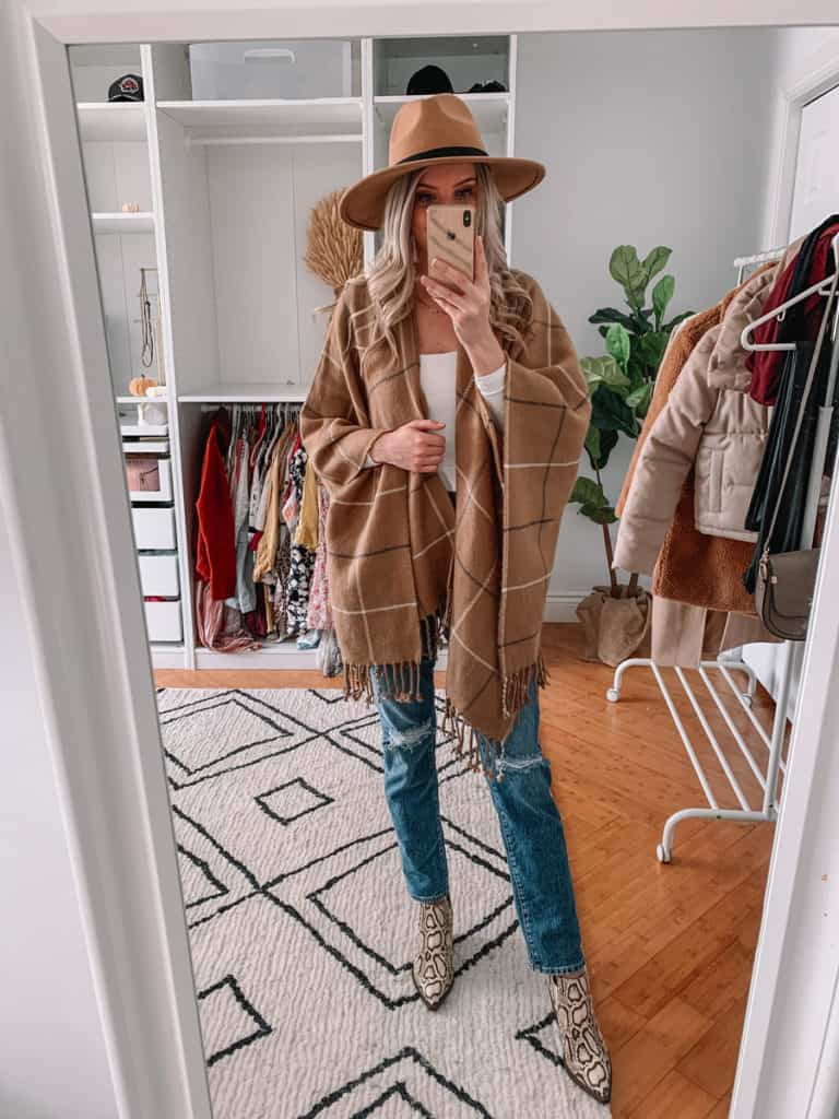 womens coats, womens coats 2020, womens coats casual, prada and pearls, vegan leather puffer coat, abercrombie coat, womens coat winter, fall poncho outfit, poncho outfit, plaid poncho, fall style 2020, winter style 2020, snakeskin booties