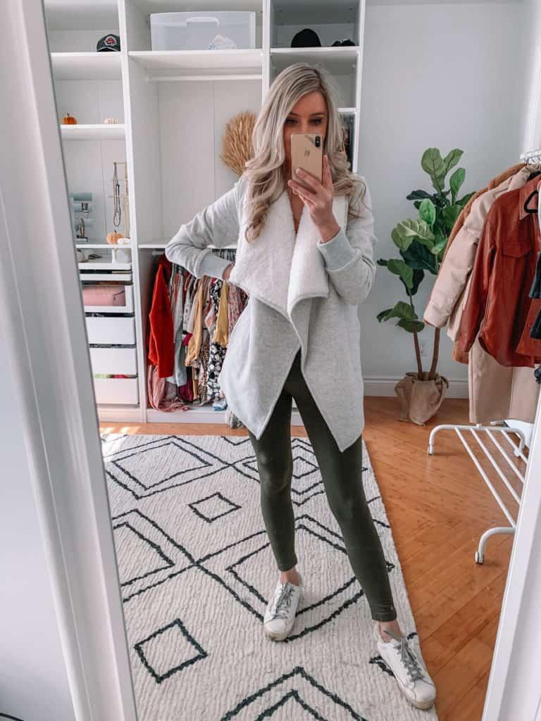 green leggings outfit, womens coats, womens coats 2020, womens coats casual, prada and pearls, vegan leather coat, abercrombie coat, womens coat winter, sherpa jacket, sherpa jacket outfit, fall style 2020, winter style 2020