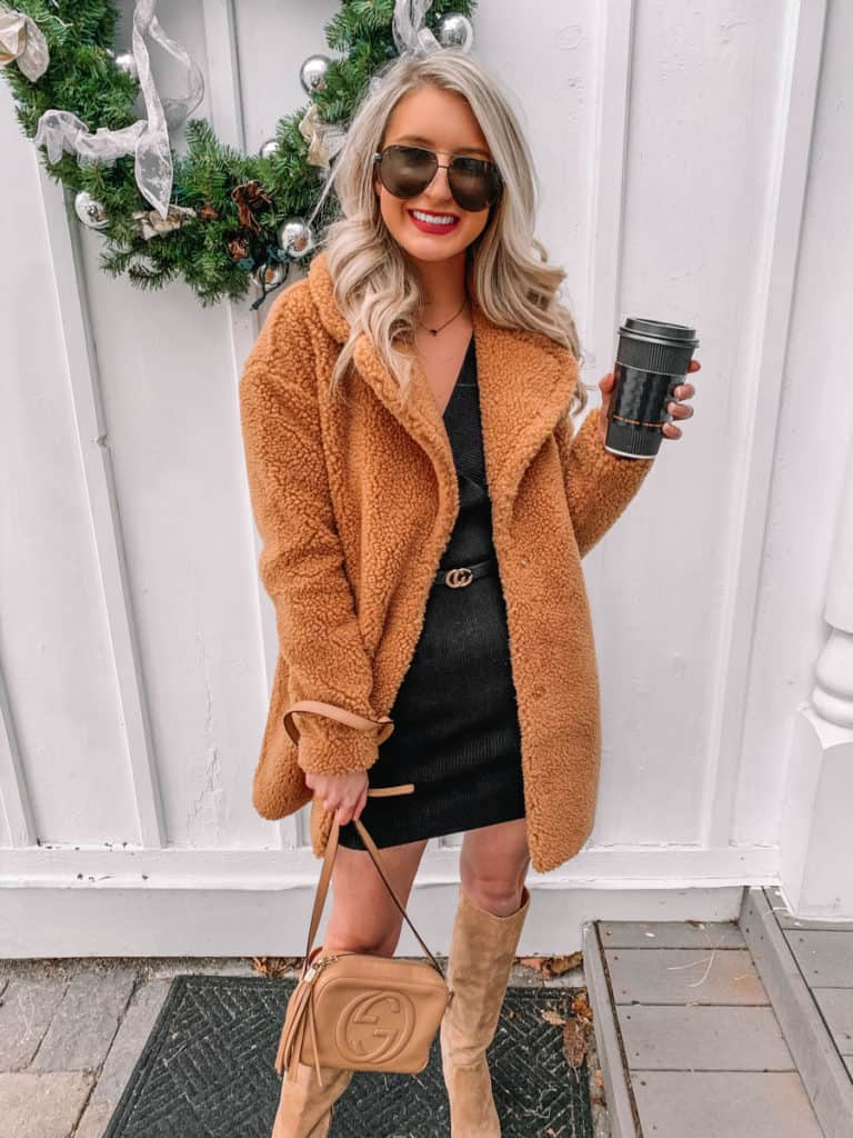 amazon sweater dress, amazon fashion finds, amazon finds, amazon must haves, amazon dress finds, amazon must haves 2020, prada and pearls, black sweater dress, teddy coat outfit