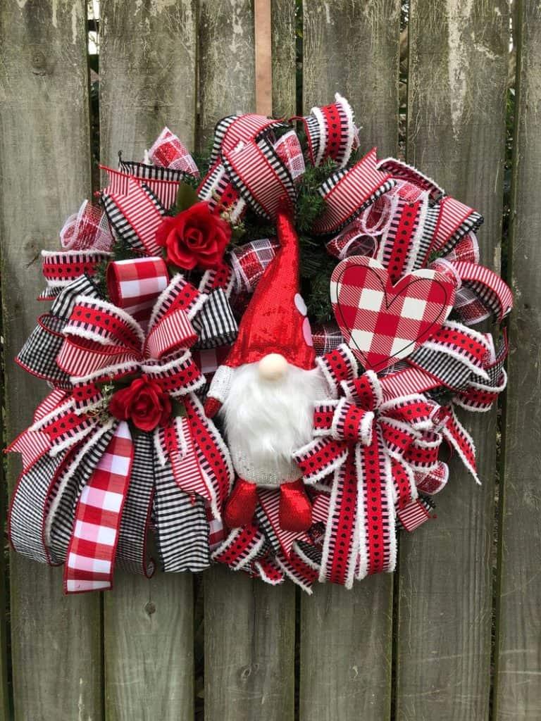 valentines day wreath, valentines day, valentines day decorations, valentines day wreath DIY, valentines day wreath mesh, valentines day wreath ideas, valentines day wreath diy front doors, valentines day decorations for home, wreaths for front door, red wreath, heart wreath, heart wreath DIY, gnome wreath