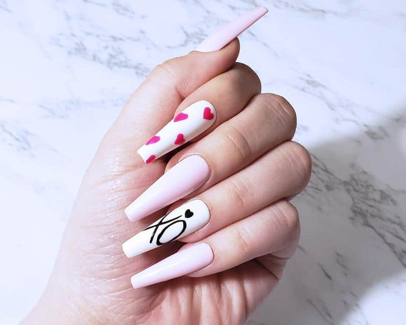 valentines day nails, valentines nails, heart nails, valentines nails acrylic, valentines nails coffin, valentines nails designs, valentines nails 2021, valentines day nails pink, valentines day nails coffin, valentines day nails acrylic, valentines day nails press on, press on nails, prada and pearls