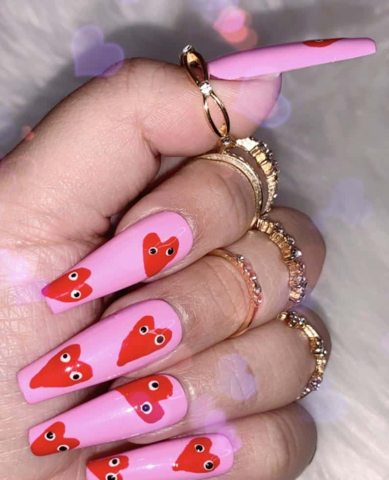 valentines day nails, valentines nails, heart nails, valentines nails acrylic, heart nails, valentines nails coffin, valentines nails designs, valentines nails 2021, valentines day nails pink, valentines day nails coffin, valentines day nails acrylic, valentines nails press on, press on nails, prada and pearls
