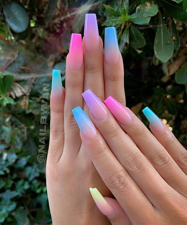 ombre nails, ombre nail ideas, ombre nails pink, ombre nails short, ombre nails coffin, ombre nail art, cute ombre nails, ombre nail color ideas, pink ombre nails, blue ombre nails, pink nails, rainbow nails