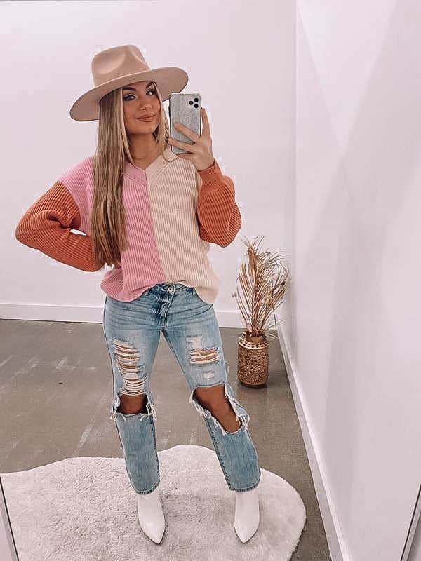spring outfits 2021, pink sweater, spring sweater, boho style