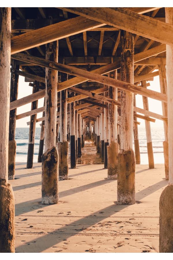 beach aesthetic, beach pier, sunset wallpaper, ocean wallpaper