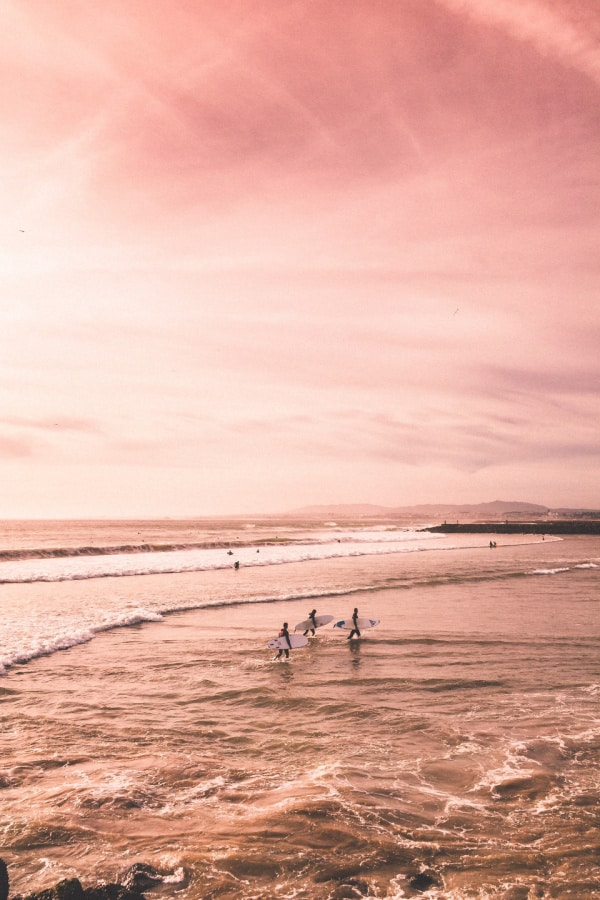 pink wallpaper, pink aesthetic, pink background, beach wallpaper, surfer wallpaper, pastel aesthetic