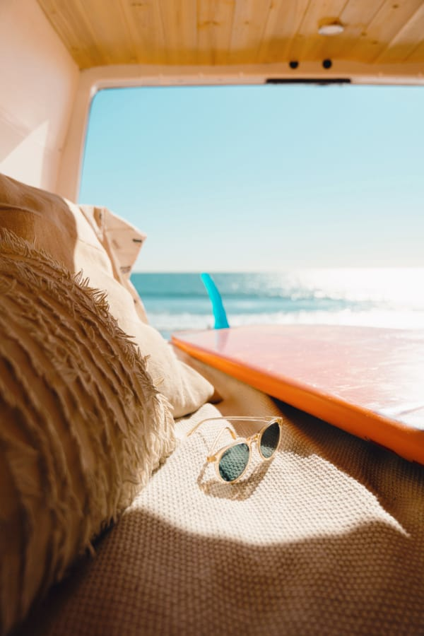beach wallpaper, beach aesthetic, pink surf board, pink beach aesthetic