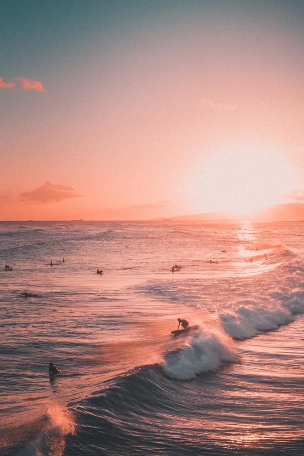 sunset wallpaper, beach wallpaper, surfer wallpaper, pink wallpaper, pink aesthetic, pink background, waves wallpaper