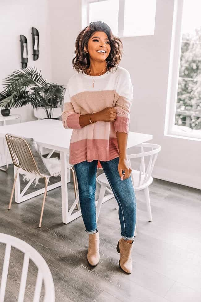 striped pink sweater, spring sweater, how to style a pink sweater,