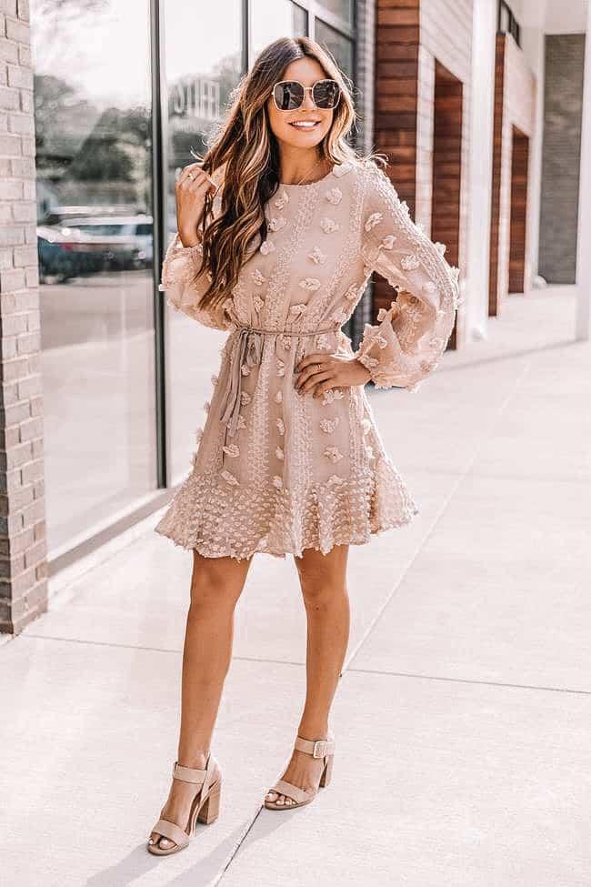 polka dot dress, beige dress, spring dress, easter dress, cute dress, spring dress 2021