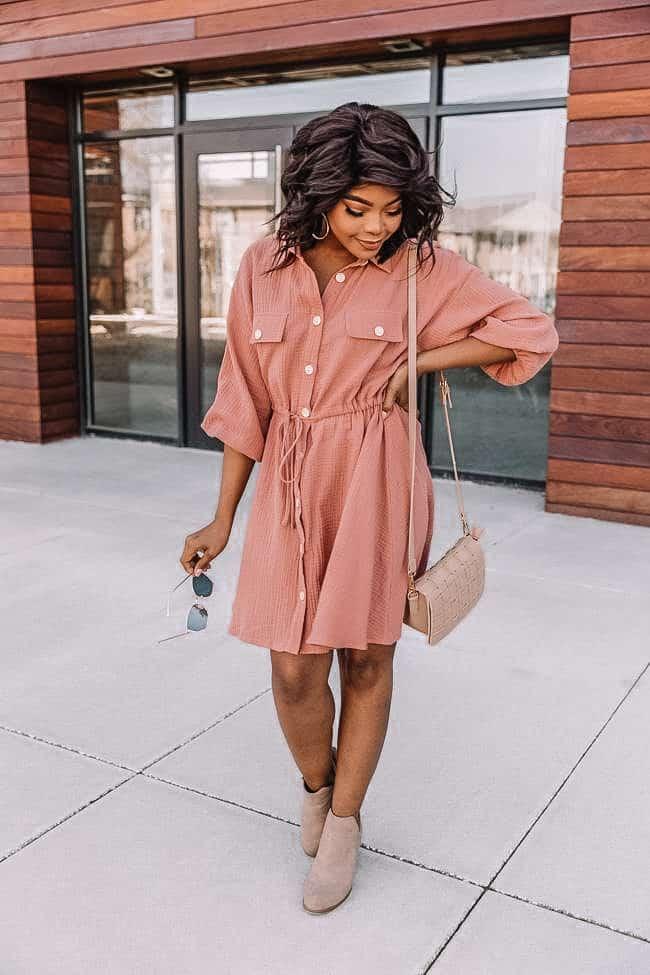 pink shirt dress, pink dress, casual pink dress, spring dress, pink spring dress, work wear dress, work wear