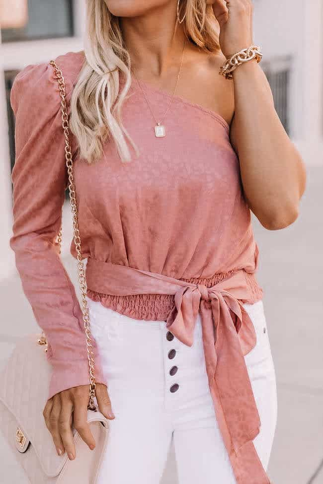 pink wrap top, spring top, spring blouse, pink blouse, white denim, how to style white denim, gold jewelry