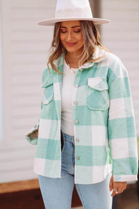 turquoise jacket, plaid jacket, sherling jacket, shacket, green shacket