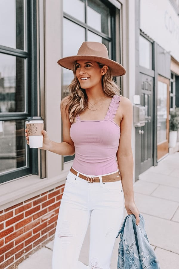 spring outfits 2021, spring bodysuit, spring style, lilac top, white denim look, how to style white denim