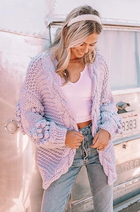 spring outfits 2021, lilac sweater, Pom Pom sweater, spring purple sweater, purple sweater