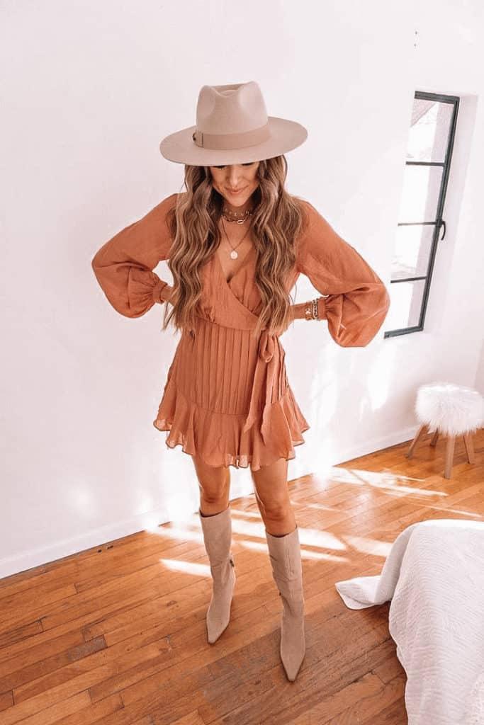 spring outfits 2021, peach dress, wrap dress, spring wrap dress