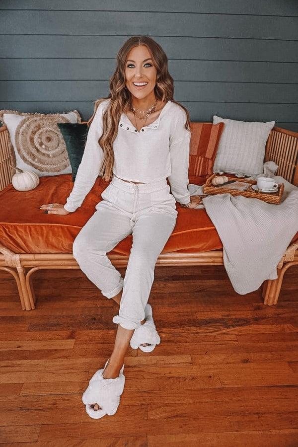 loungewear set, white loungewear set, Ivory loungewear set, casual spring look