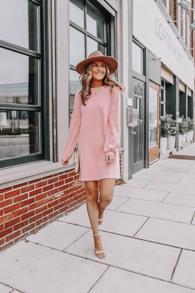 pink sweater dress, sweater dress for women, pastel sweater dress, how to style a sweater dress, spring dress, casual dress