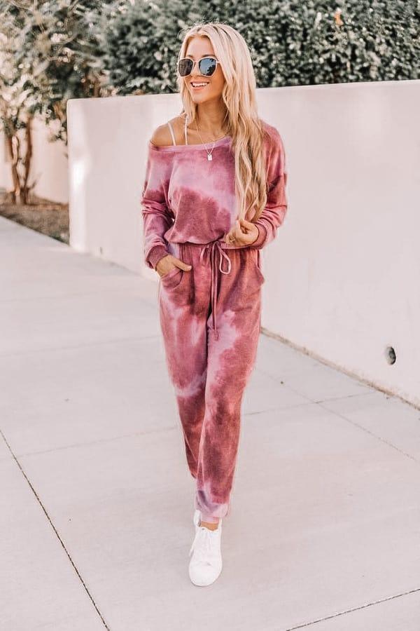 tie dye, tie dye jumpsuit, pink tie dye, loungewear outfit, casual loungewear