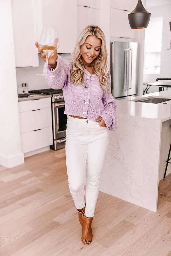 spring outfits 2021, spring bodysuit, spring style, lilac sweater, white denim look, how to style white denim