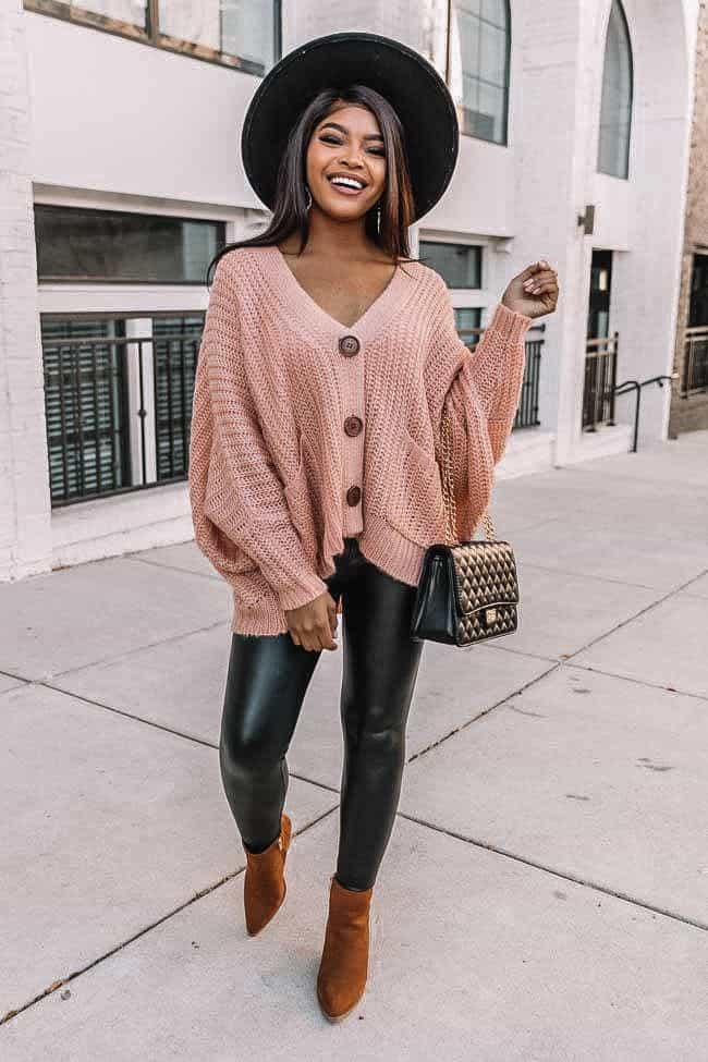 button up sweater, pink sweater, dusty rose sweater, how to style leggings, spring outfit 2021, spring look women