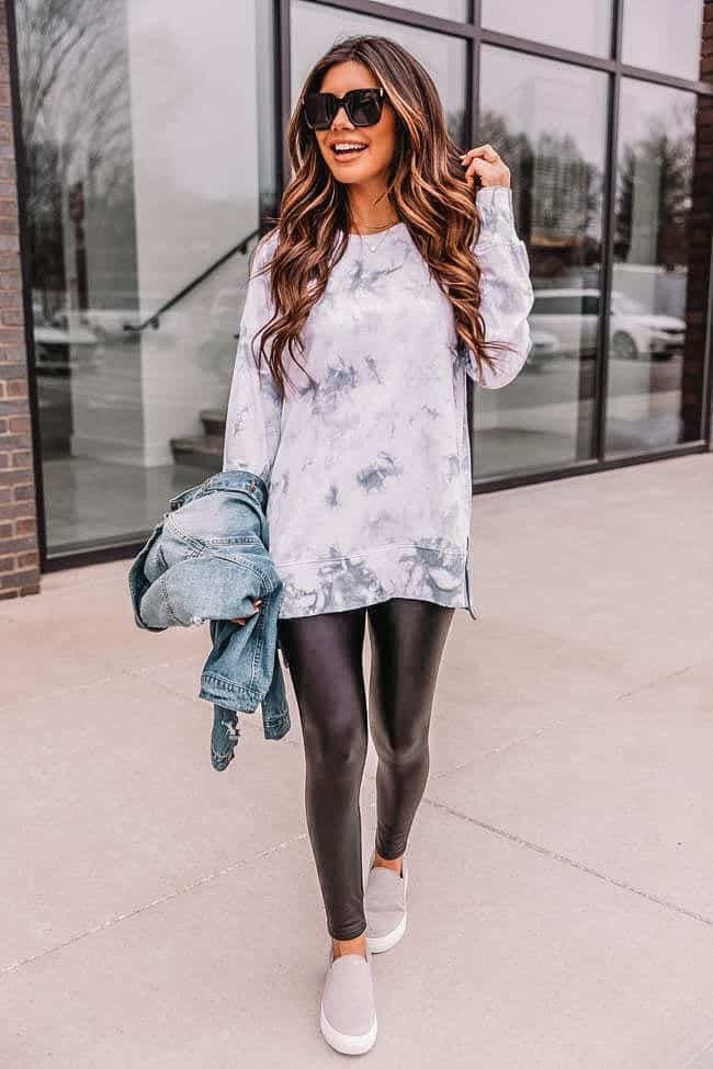 spring outfits 2021, tie dye sweater, spring athleisure, casual spring outfit, how to style faux leather leggings