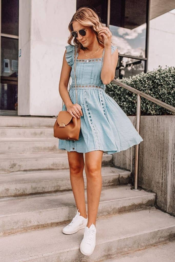 blue eyelet dress, spring dress, blue spring dress, casual spring dress