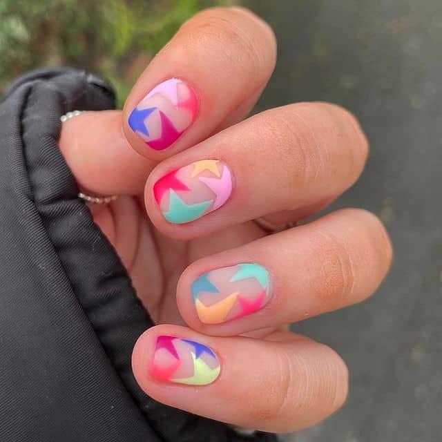 star nail designs, star nail art, star nails short, star nail ideas, star nails acrylic, nail art, rainbow star nails