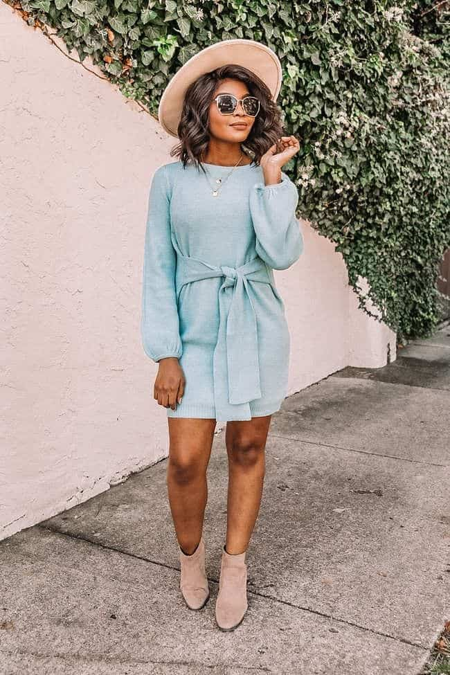 spring dresses 2021, spring dresses, grey dress, spring dresses casual, spring dresses classy, spring dresses for teens, blue sweater dress, sweater dress, tied front sweater dress