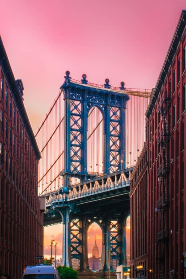 pink wallpaper, pink wallpaper iPhone, pink aesthetic, cute pink wallpaper, pink background, pink background iPhone, pink wallpaper girly, New York City wallpaper, Brooklyn bridge wallpaper
