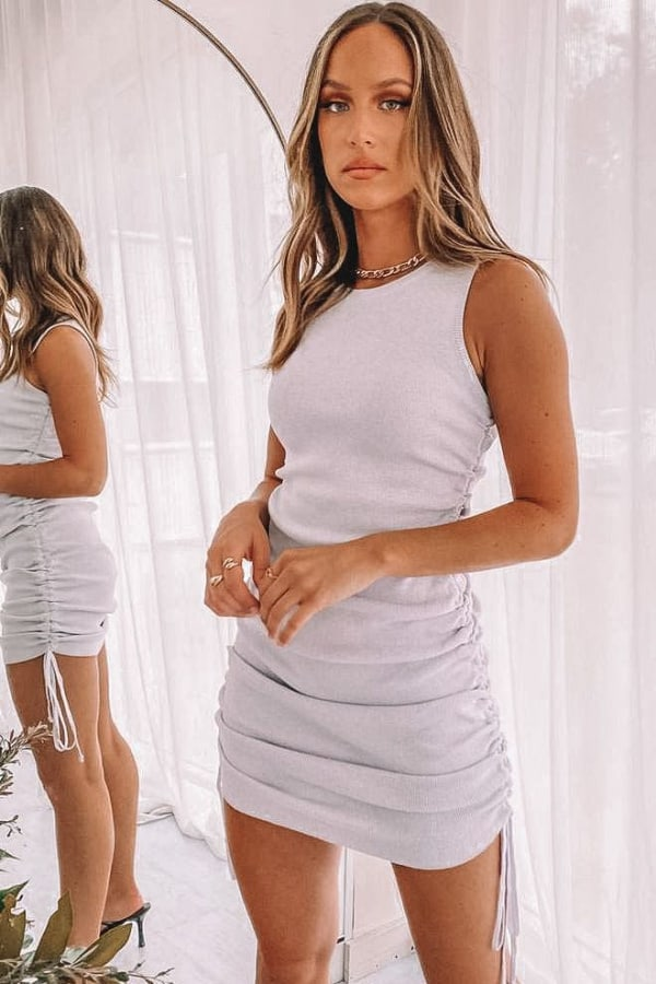 spring dresses 2021, spring dresses, grey dress, spring dresses casual, spring dresses classy, spring dresses for teens, ruched dress, grey dress