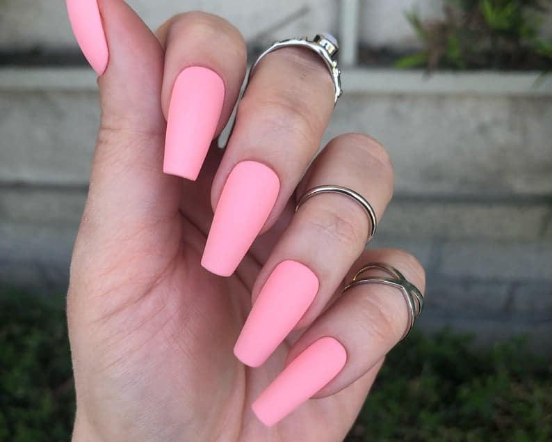 pink nails, pink nail art, pink nail designs, pink nail ideas, pink nails acrylic, pink nail polish, spring nails, neon pink nails, matte pink nails