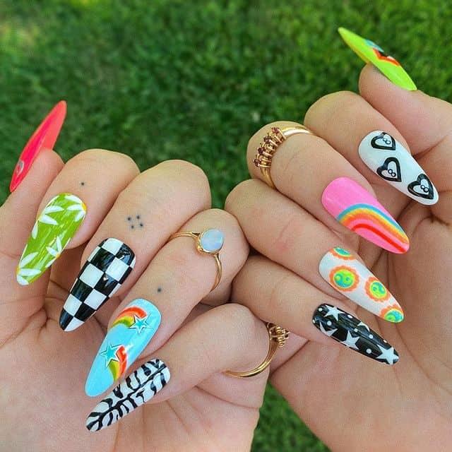 indie nail art, indie nail ideas, indie nails acrylic, indie nails aesthetic, indie nail designs, indie nail ideas acrylic, 90s nails, 90s nail art, retro nails