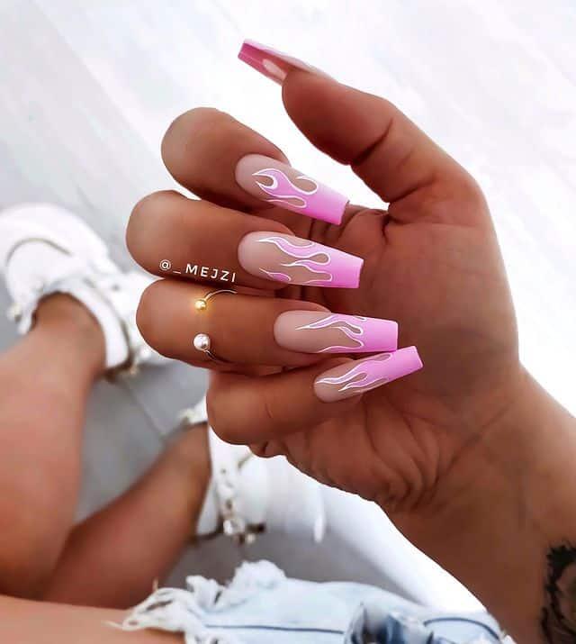 pink nails, pink nail art, pink nail designs, pink nail ideas, pink nails acrylic, pink nail polish, spring nails, flame nails