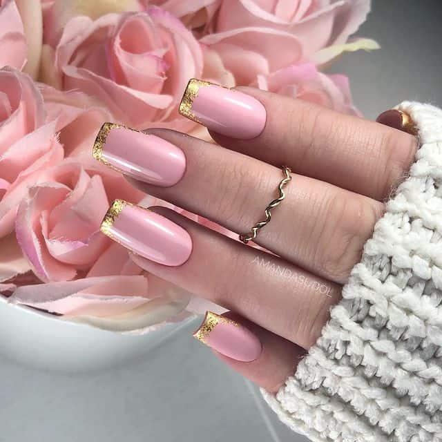 pink nails, pink nail art, pink nail designs, pink nail ideas, pink nails acrylic, pink nail polish, spring nails, gold French tips
