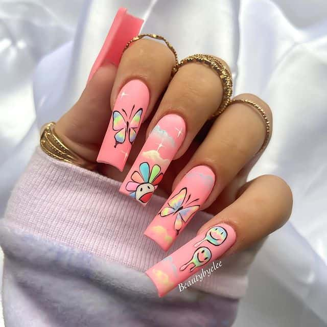 indie nail art, indie nail ideas, indie nails acrylic, indie nails aesthetic, indie nail designs, indie nail ideas acrylic, 90s nails, 90s nail art, pink nails, pink nail art