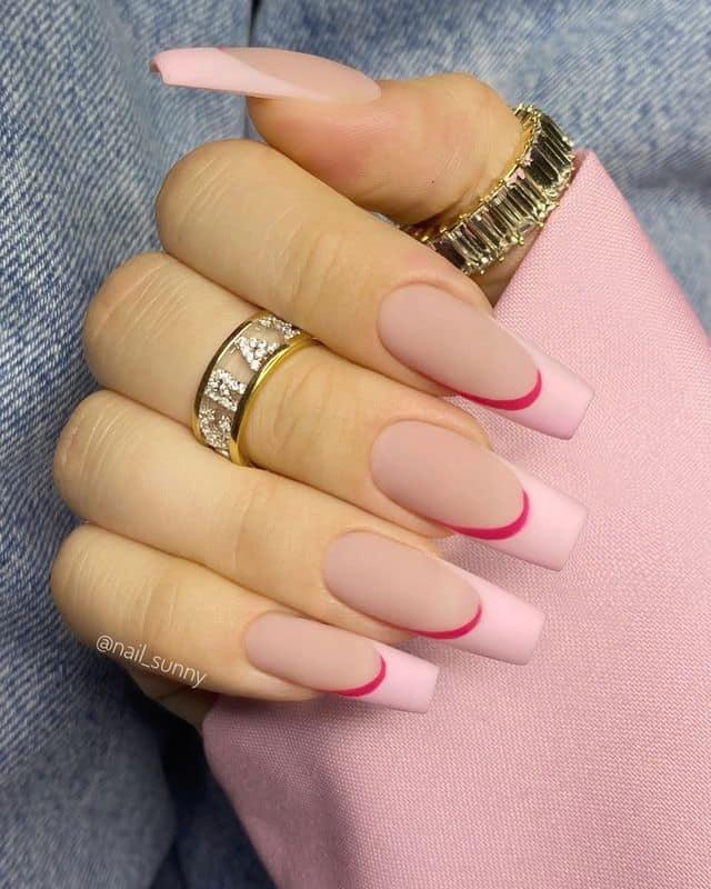 pink nails, pink nail art, pink nail designs, pink nail ideas, pink nails acrylic, pink nail polish, spring nails, French tip nails, pink French tips