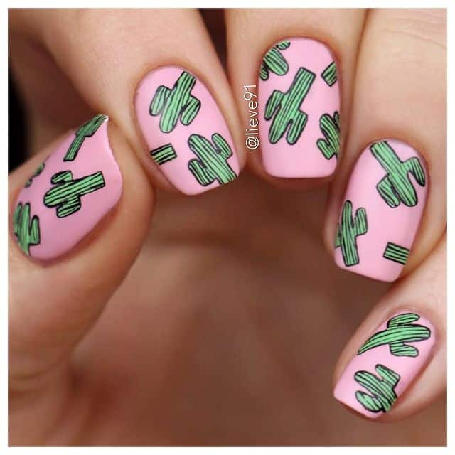 pink nails, pink nail art, pink nail designs, pink nail ideas, pink nails acrylic, pink nail polish, spring nails, cactus nails